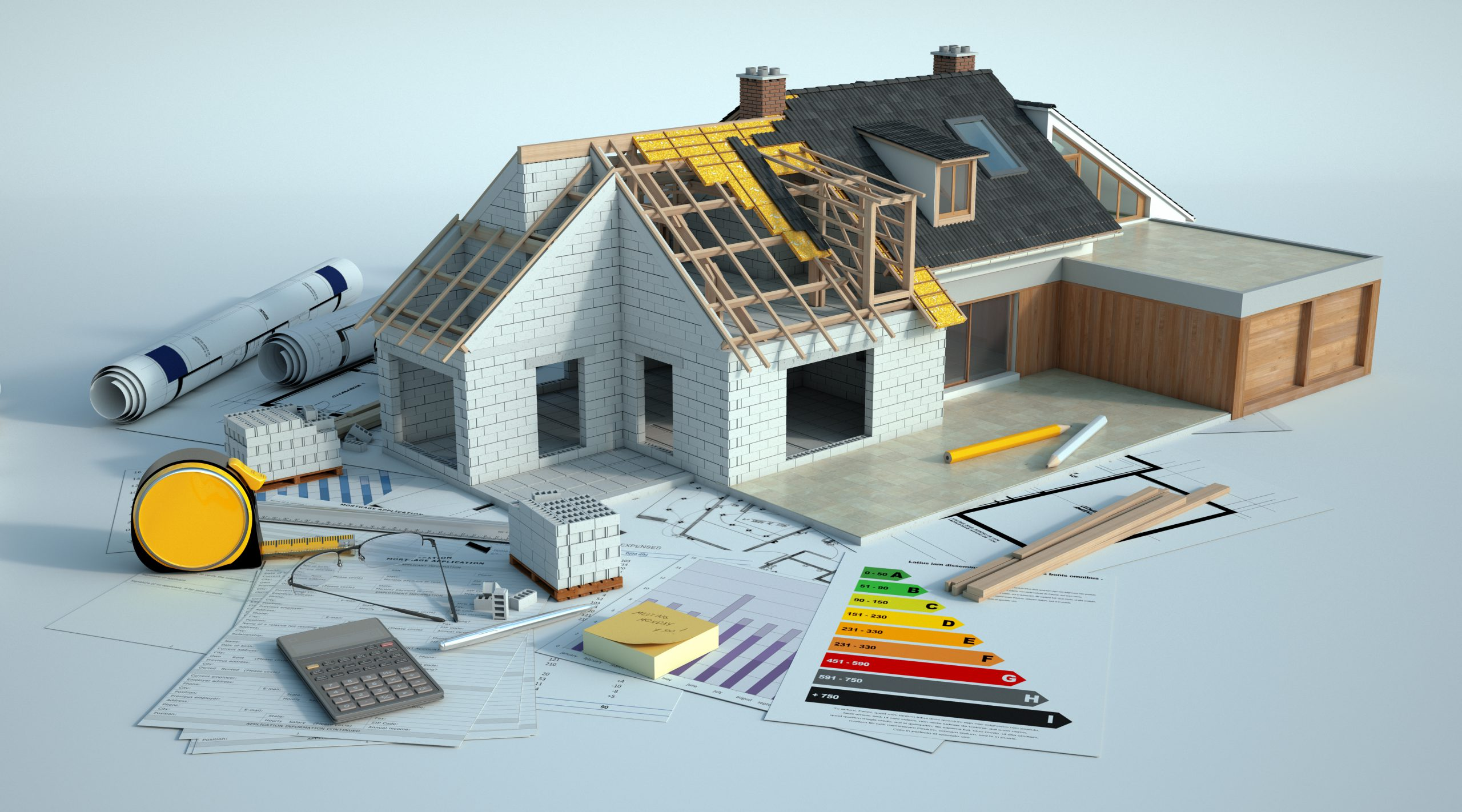3d,Rendering,Of,A,House,Undergoing,Amplifying,Renovations,There,Is
